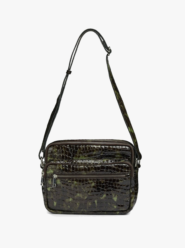 KAZUKO CROCO GLOSS BAG - GREEN/BLACK