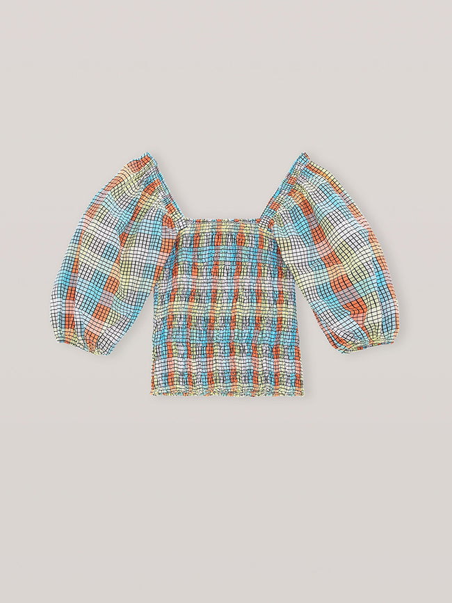 SEERSUCKER CHECK SMOCK TOP - MULTICOLOUR