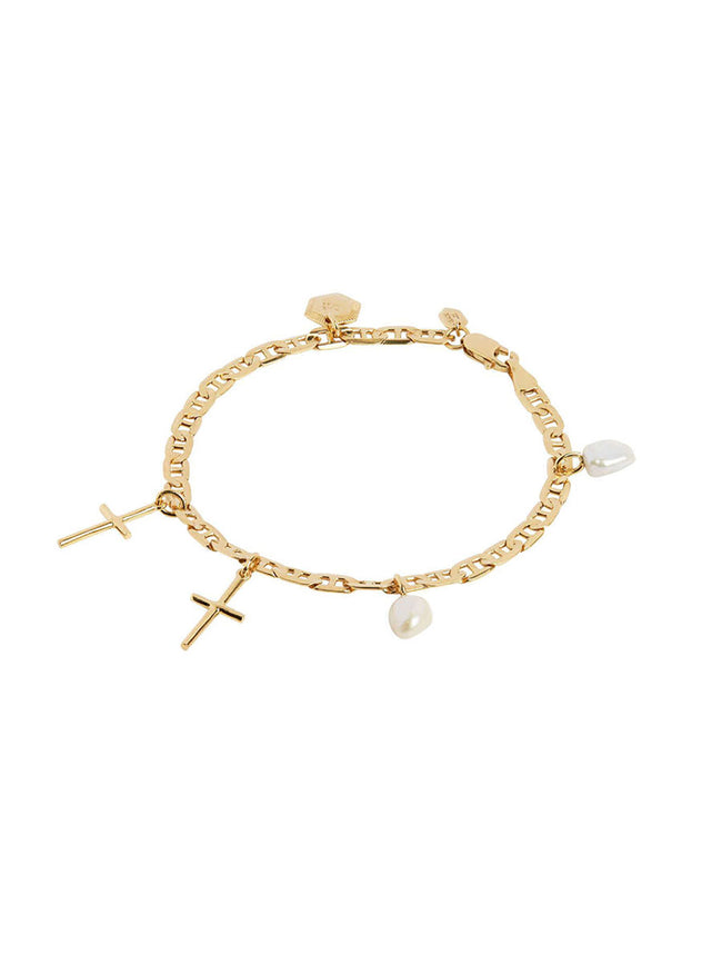 CROSS CHARM BRACELET GOLD