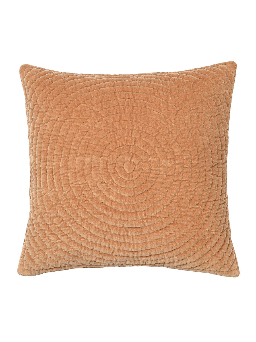 QUILTED VELVET CUSHION - INDIAN TAN