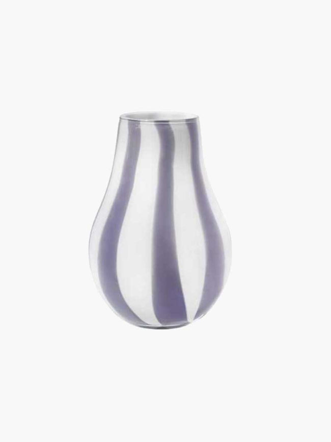 ADA STRIPE MOUTHBLOWN VASE 15.5X22.5 - ORCHID LIGHT PURPLE