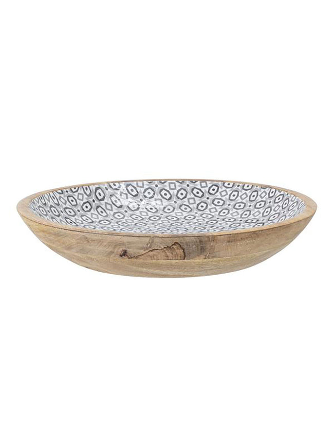 MANGO WOODEN SERVING BOWL - GREY