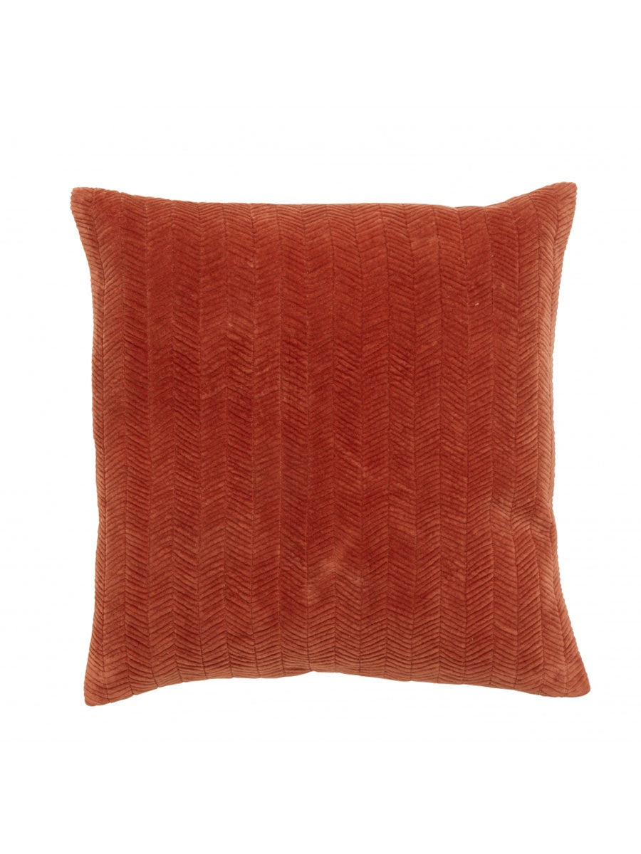 FINE LINES QUILTED VELVET CUSHION - RUST