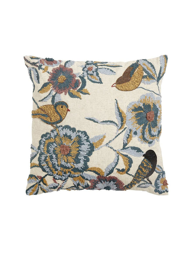 BIRDS APPLIQUE BEADED CUSHION