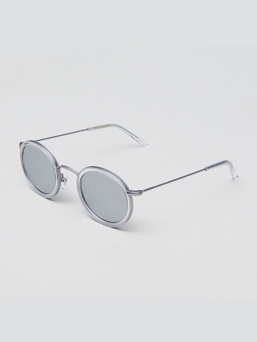 DRUM CIRCULAR SUNGLASSES - CLEAR TITANIUM
