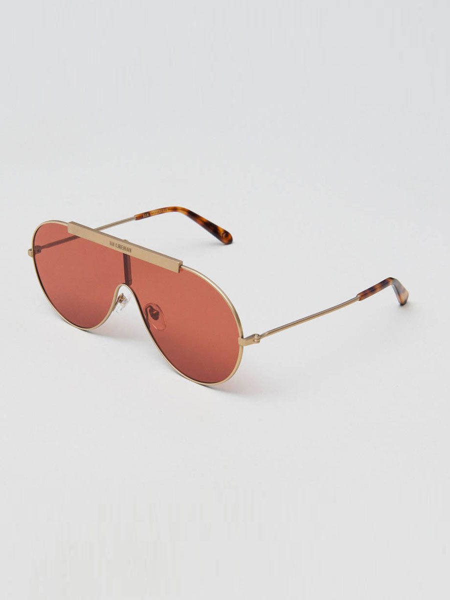 SHIELD GOLD TITANIUM SUNGLASSES RED