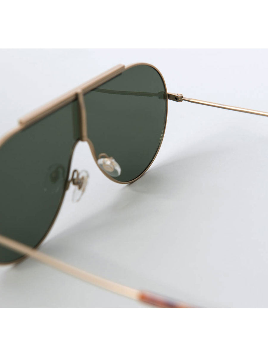 SHIELD GOLD TITANIUM SUNGLASSES GREEN