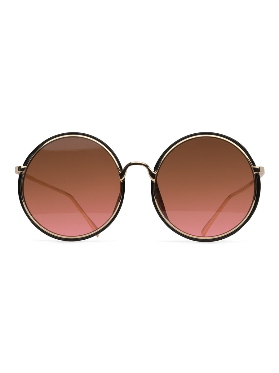 CADEL CIRCULAR SUNGLASSES -BLACK & ROSE GOLD