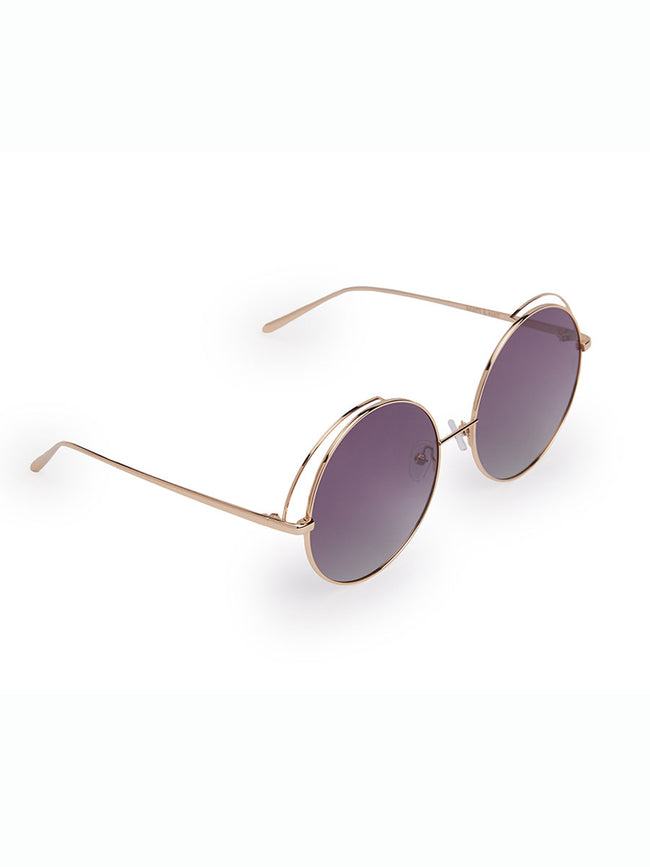 HOLLY CIRCULAR SUNGLASSES - ROSE & MAUVE LENS