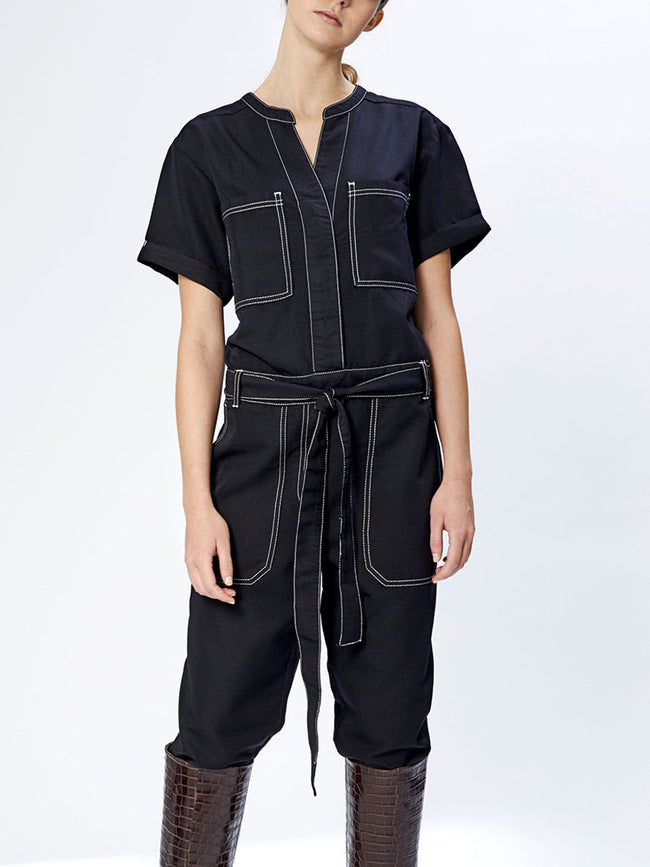 JULIE CONTRAST STITCH JUMPSUIT - BLACK
