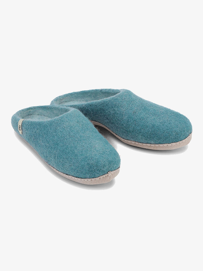 WOOL SLIPPERS - SEA BLUE
