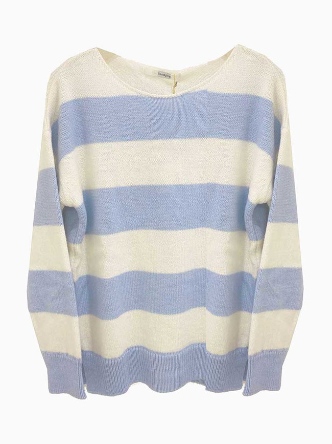 PALMA STRIPED JUMPER - LIGHT BLUE/OFF-WHITE