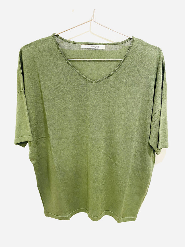 CORA KNITTED T-SHIRT - ARMY GREEN