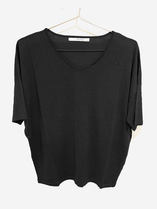 CORA KNITTED T-SHIRT - BLACK