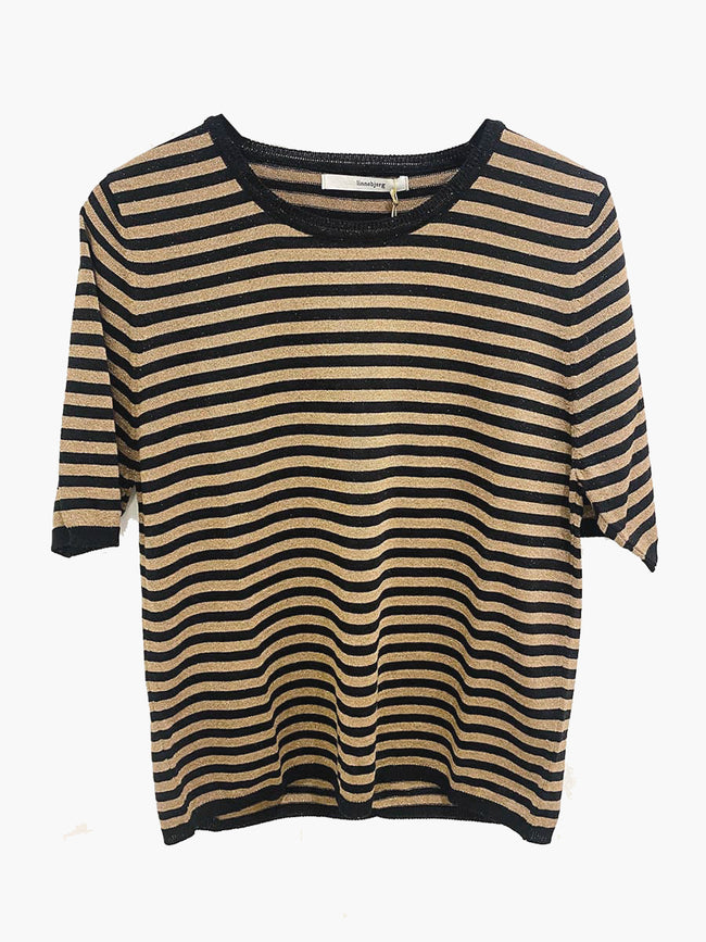 JING STRIPED T-SHIRT - BLACK/NOUGAT