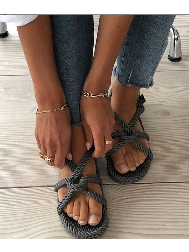 MOUNTAIN MAMA ROPE SANDALS - GREY