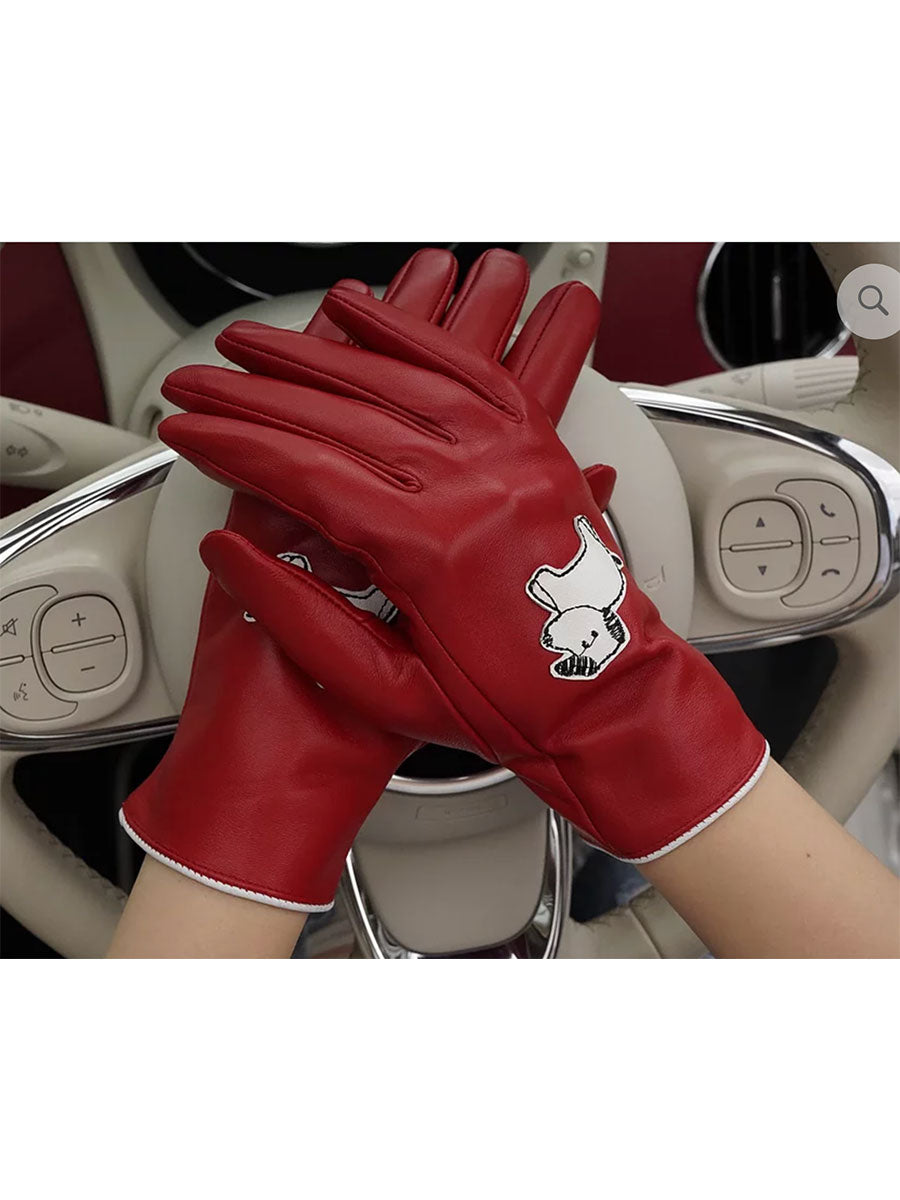 LEATHER GLOVES -RED DOG