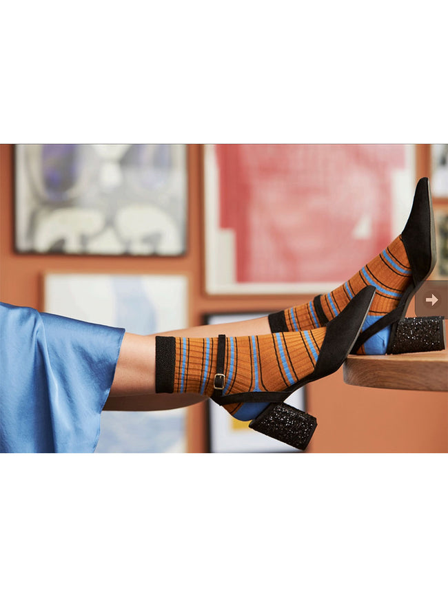 SARAH ANKLE SOCKS - ORANGE/SKY