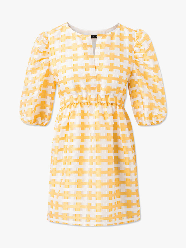 POP CHECK PUFF SLEEVE DRESS - YELLOW