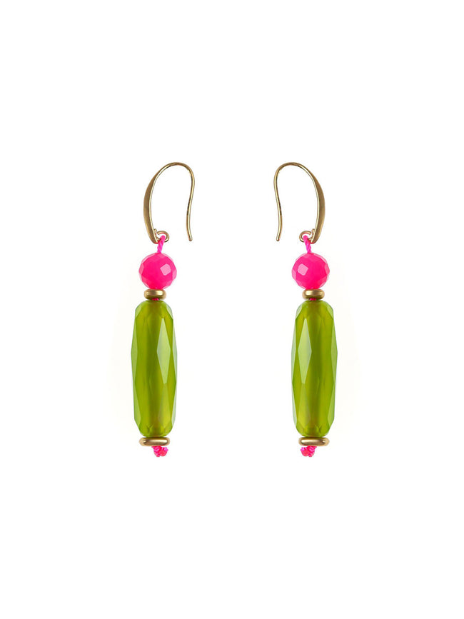 TUBE BEADED DROP EARRINGS