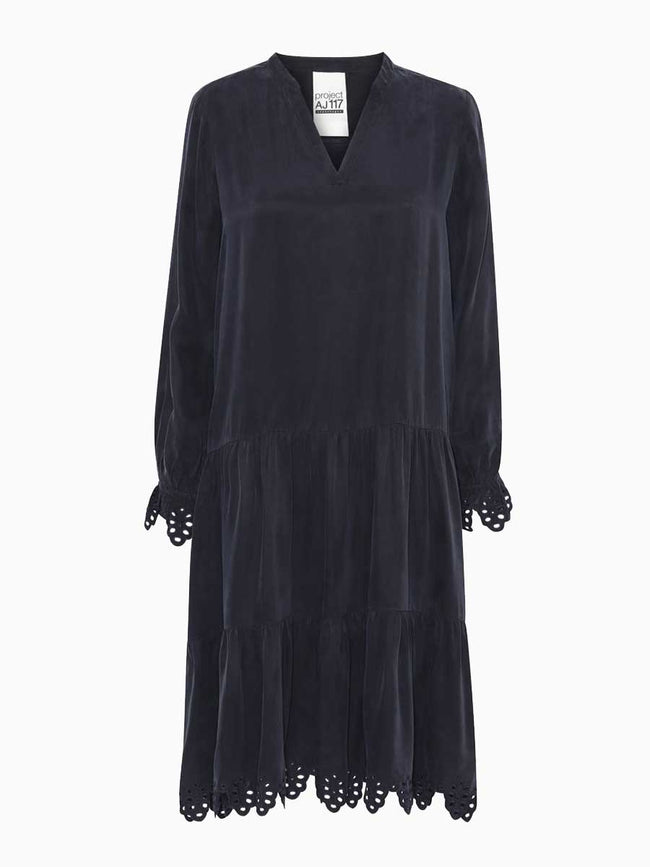 HAYLEY EMBROIDERED DRESS - MIDNIGHT