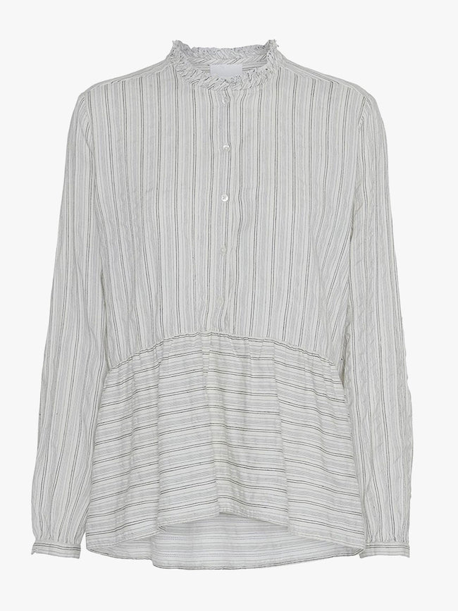 LIGA STRIPE PEPLUM SHIRT - CHALK