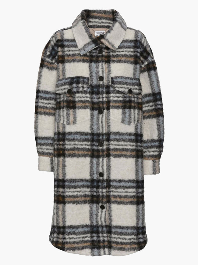 MELBOURNE CHECK COAT - CHALK