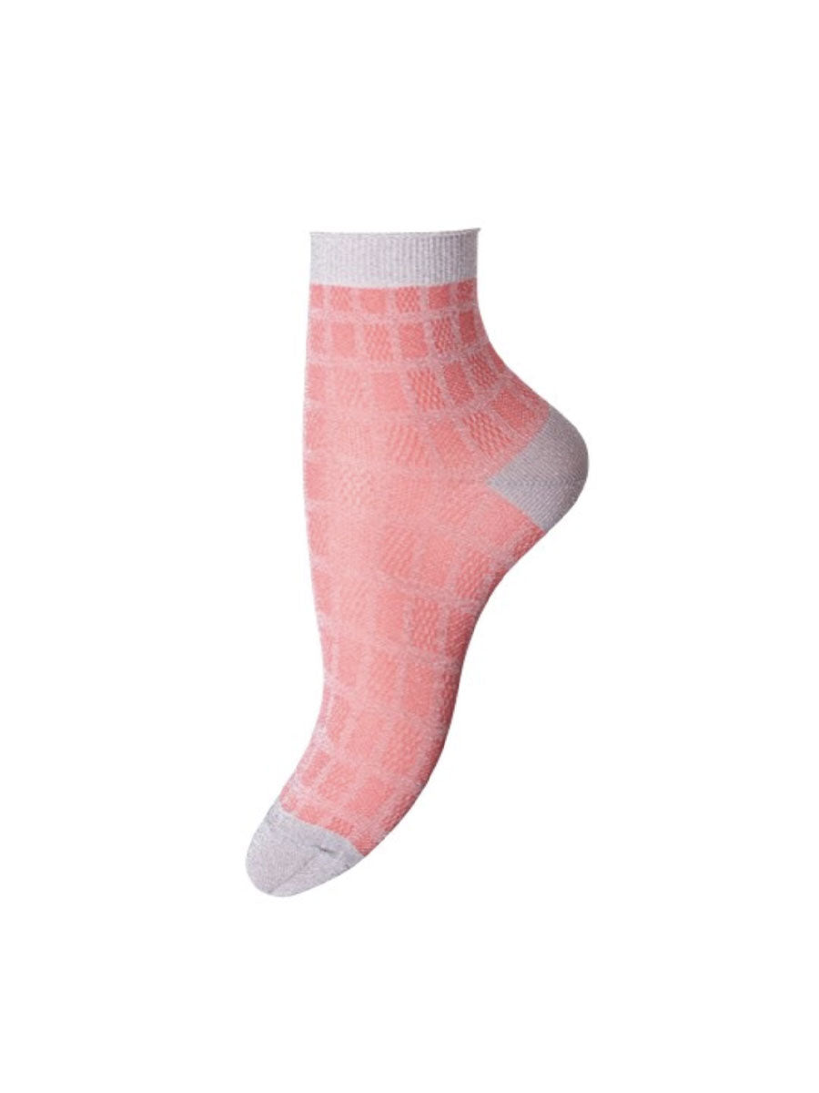 MOLLY ANKLE SOCKS - PINK SILVER