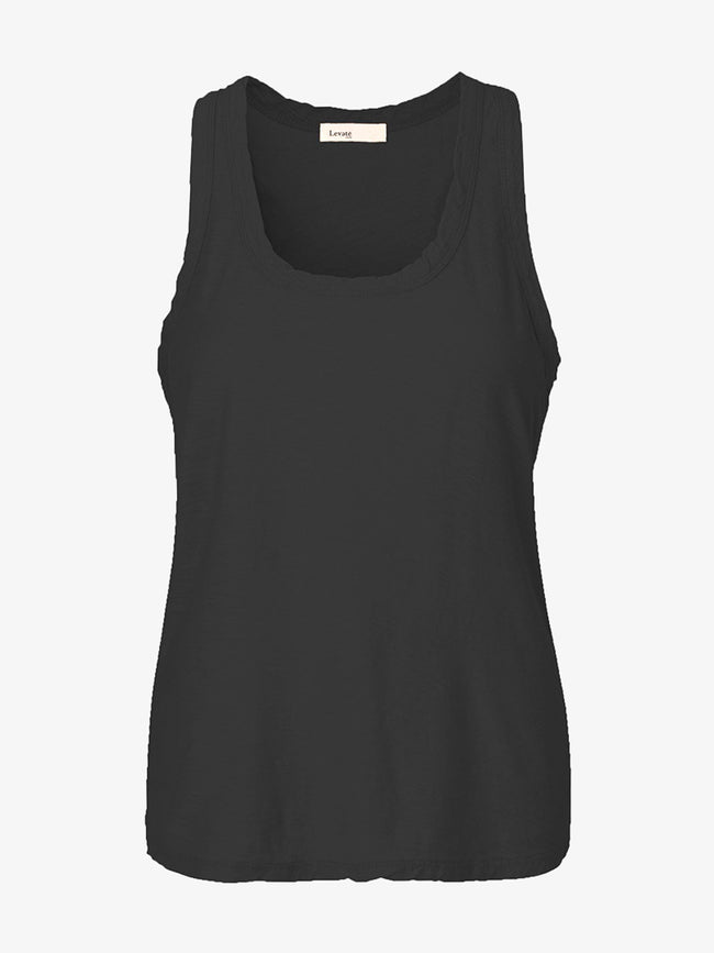 ANY7 SCOOP NECK VEST - BLACK