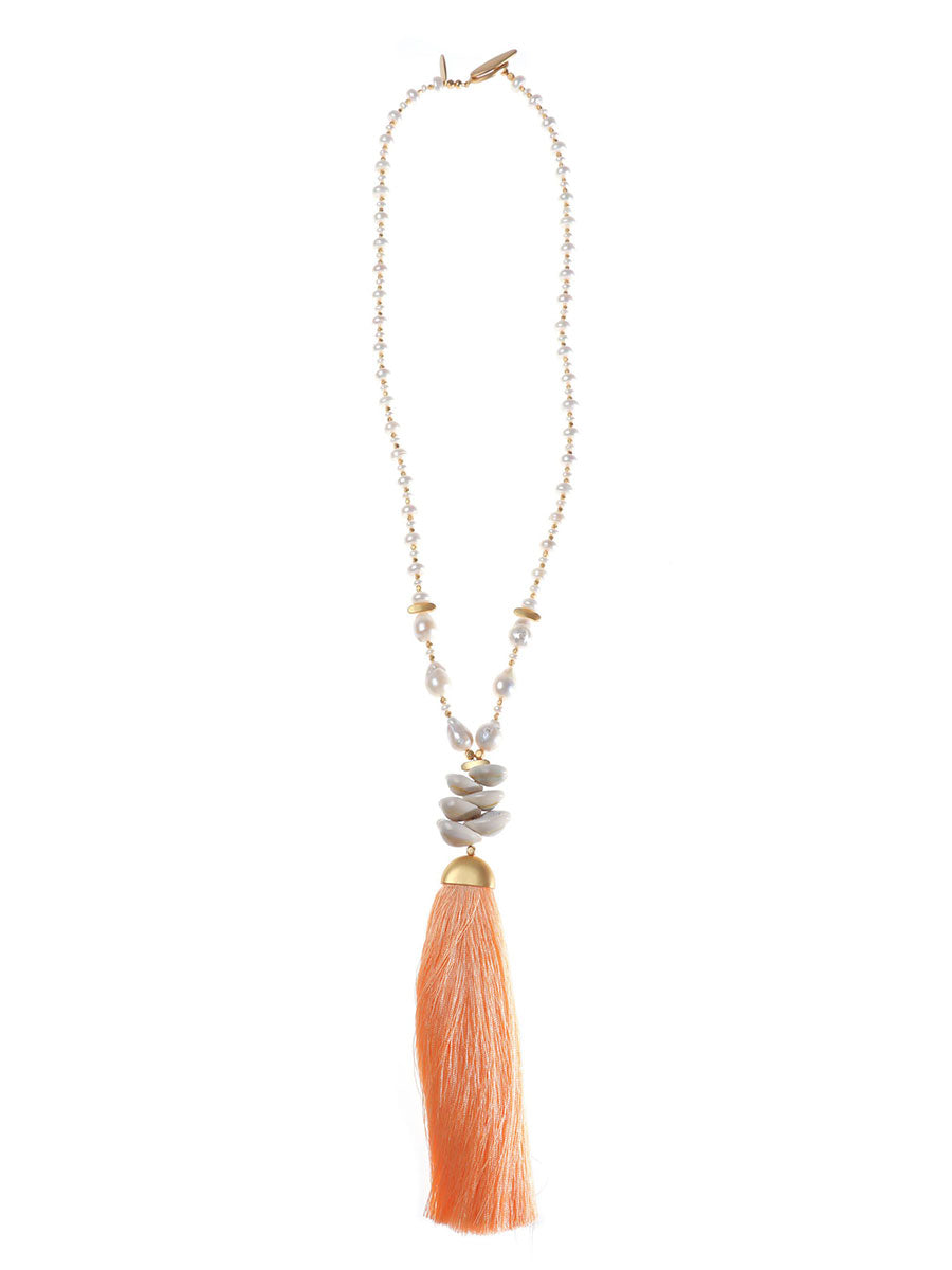 SHELLEY BAROQUE PEARL TASSEL NECKLACE