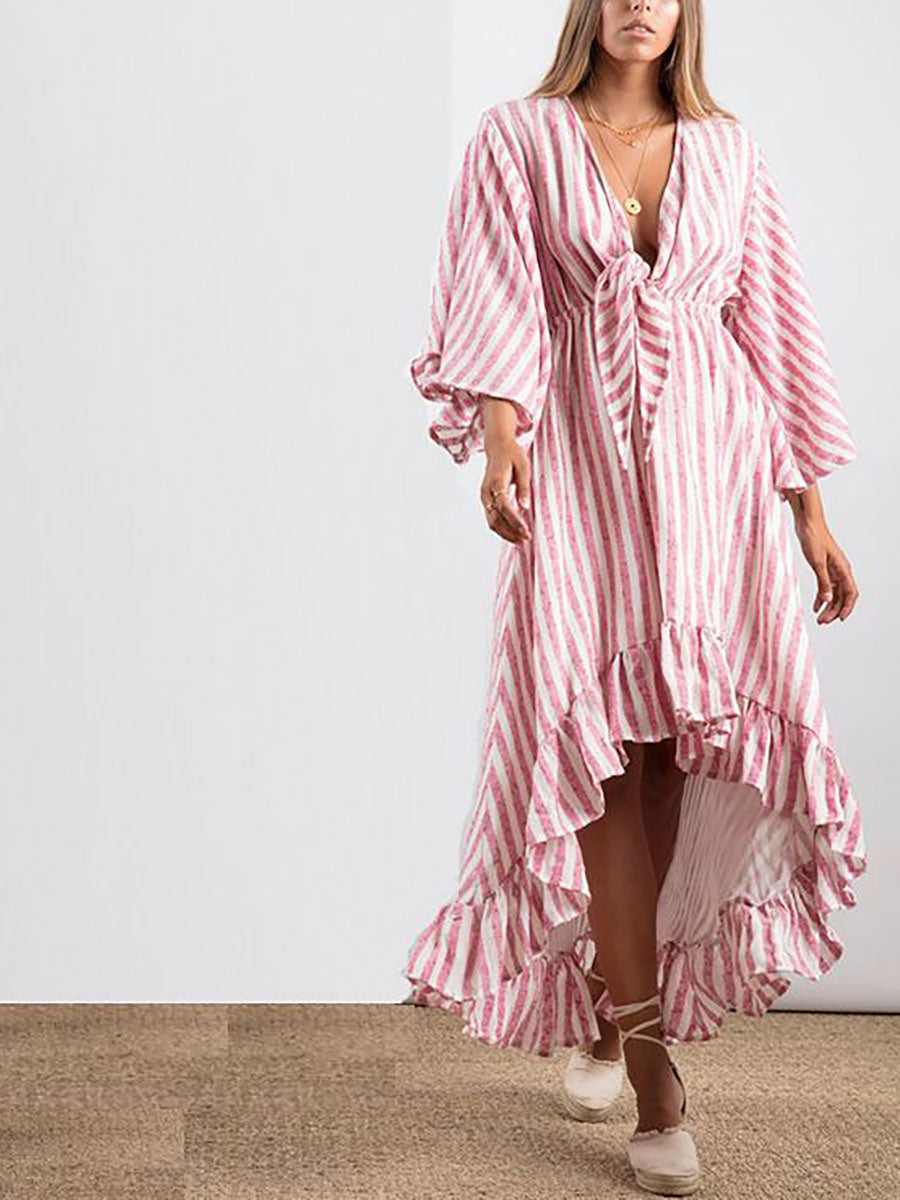 JULIANA TIE FRONT STRIPE SUMMER DRESS