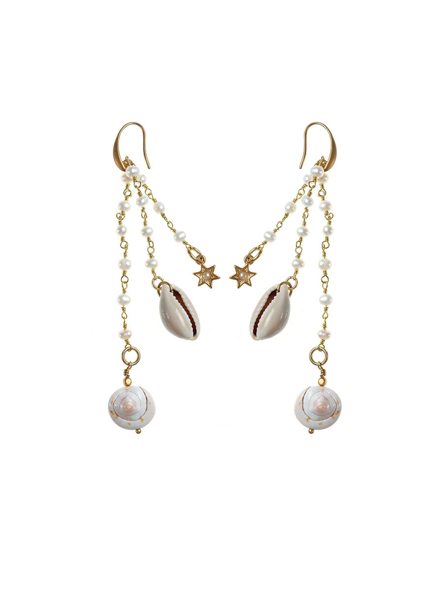 TAHITI SHELL PEARL DROP EARRINGS