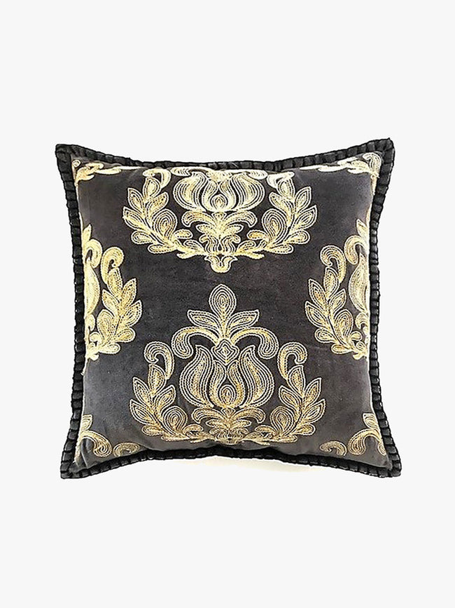 EMBROIDERED CUSHION - GREY