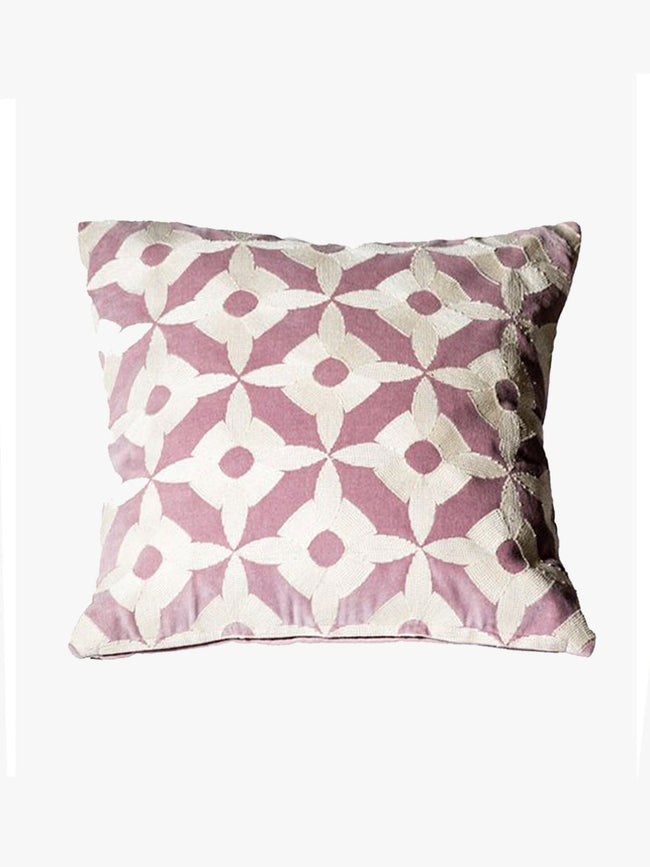 EMBROIDERED VELVET CUSHION - LILAC