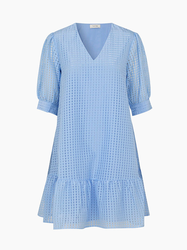 IBEN PUFF SLEEVE DRESS - CHAMBRAY BLUE