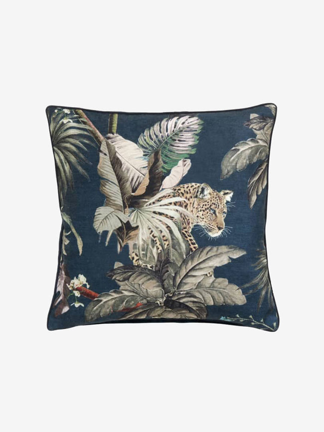 LEOPARD JUNGLE VELVET CUSHION COVER - DARK BLUE