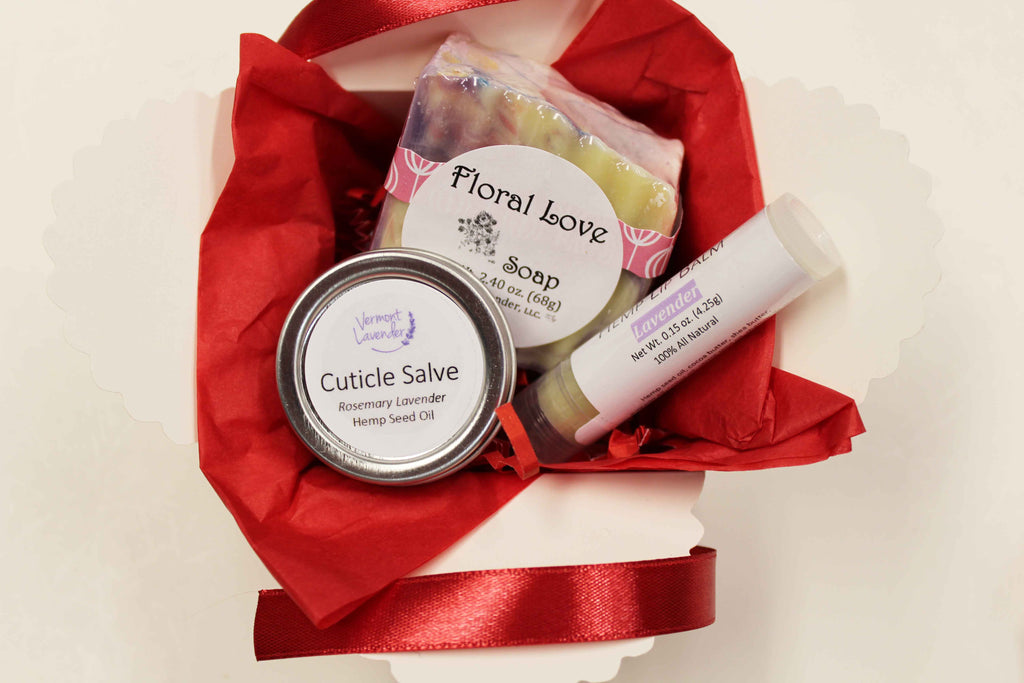 Small gift box Floral love soap, lavender lip balm, cuticle salve