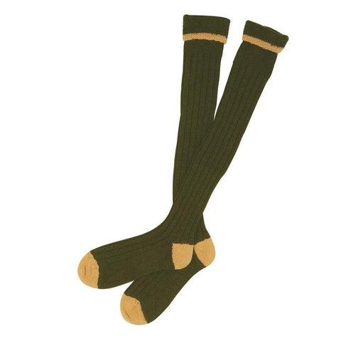Barbour Contrast Hunting Stockings - Olive/Gold