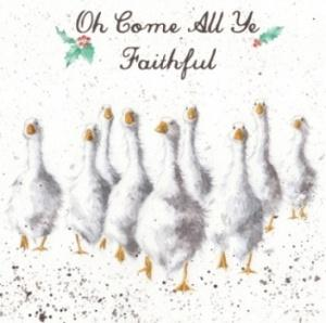 Wrendale Designs Oh Come All Ye Faithful Christmas Card