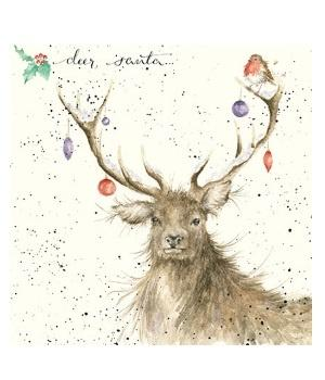 Wrendale Designs Christmas Card Deer Santa