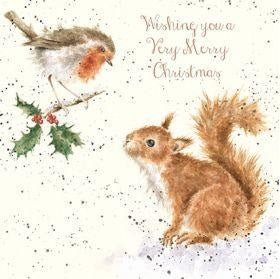 Wrendale Designs Robin and Squirrel Christmas Card