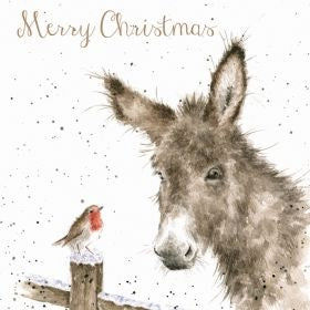 Wrendale Designs Donkey and Robin Luxury Christmas Card