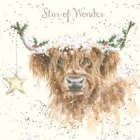 Wrendale Designs Highland Star Christmas Card