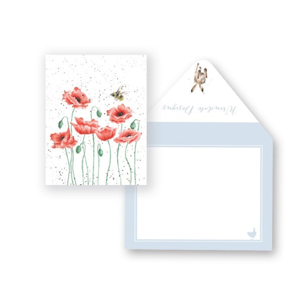 Wrendale Designs Poppies and Bee Miniature Card