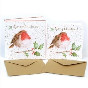 Wrendale Designs The Jolly Robin Luxury Christmas Card Box Set of 8