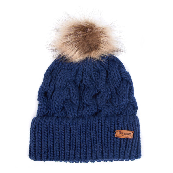 Barbour Ladies Penshaw Cable Beanie - Navy