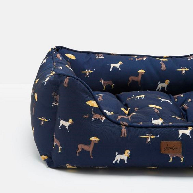 Joules Coastal Dog Print Square Pet Bed