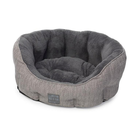 House of Paws Grey Hessian Oval Snuggle Dog Bed