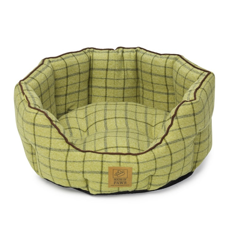 House of Paws Green Tweed Oval Snuggle Bed