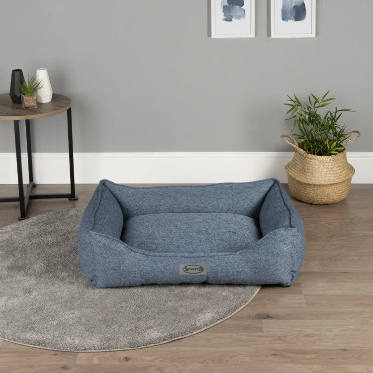 Scruffs Manhattan Box Dog Bed - Denim Blue